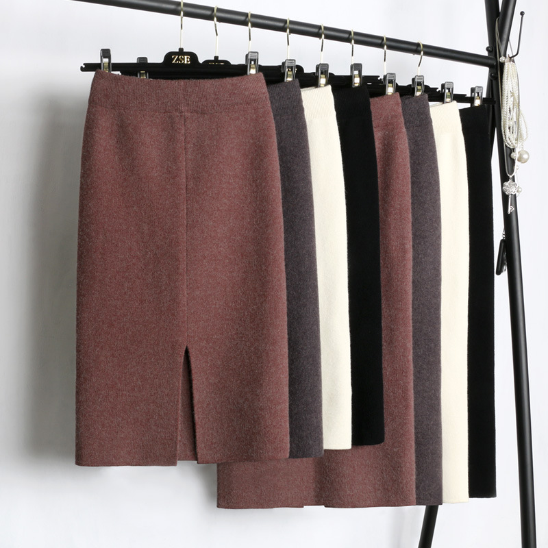 Winter Thickening Wool Blend Split Mid Knitted Skirt Cashmere Warm Hip Slim Mid-calf Knit Skirts 2 Length 4 Colors