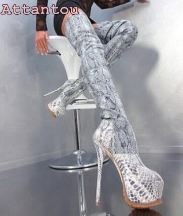 0d8d016351e8 Night club ladies python leather 16 cm high hell over the knee long boots  multi color platform stiletto heel thigh high shoes-in Over-the-Knee Boots  from ...