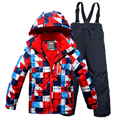 Новые Зимние Мальчики Лыжи Ветрозащитный Открытый Подростков Цветочные Куртка + Биб Брюки 2 шт. Набор Мальчиков Лыжный Костюм для 6-17Years
