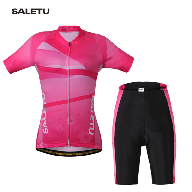 SALETU Summer Riding Clothes Shorts Set Womens Short-sleeve Cycling Jersey Set Women Suit Pink Bicycle