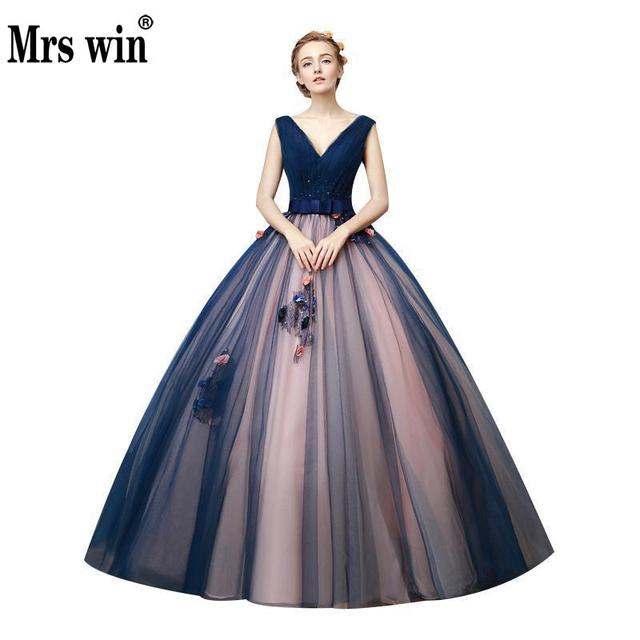 Hot Sales 2018 Navy Flowers Peals Debutante Gowns V neck Ball Gown ...