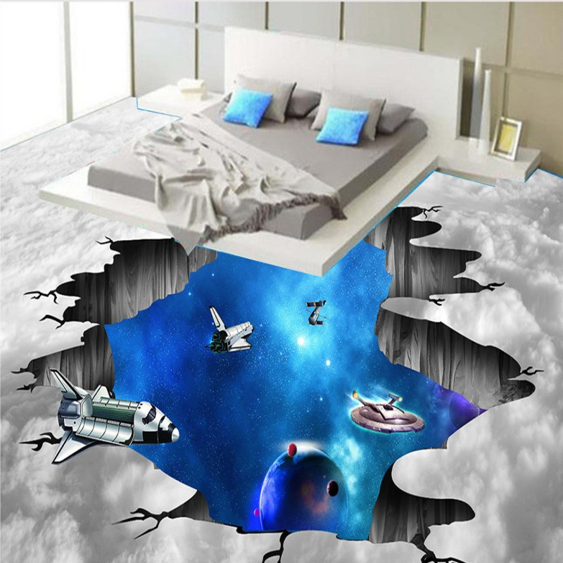 Free Shipping Planet Space Shuttle Bathroom Living Room 3D Floor moisture proof anti-skidding home decoration wallpaper mural 3d space planet living room decoration wall stickers