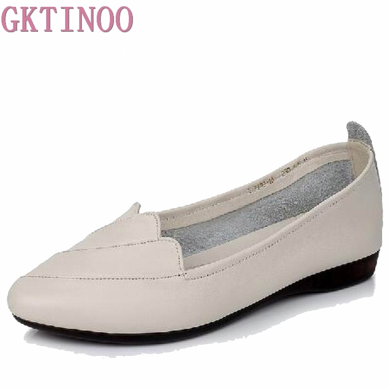 GKTINOO Women Flats Genuine Leather Flat Shoes Woman Casual Work Mother Shoes Plus Size (35-43) 2018 Fashion Women Shoes gktinoo new handmade shoe 2018 loafers women shoes casual work driving shoes women flats genuine leather flat plus size