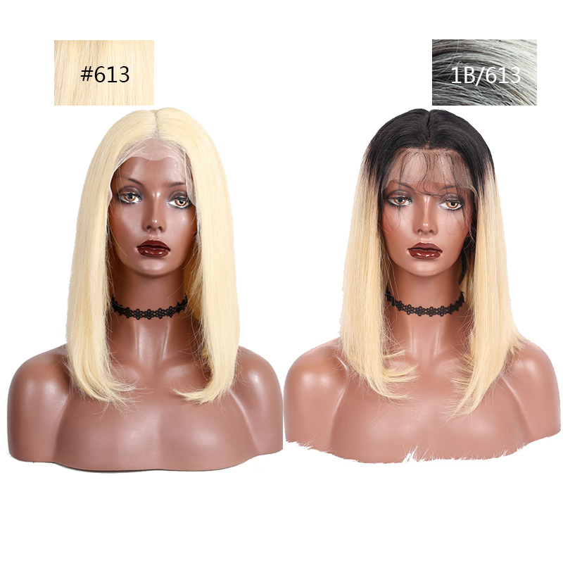 613 Lace Front Human Hair Wigs Glueless Straight Bob Wigs Transparent 13x4 Short Wigs Honey Blonde Remy Hair P image