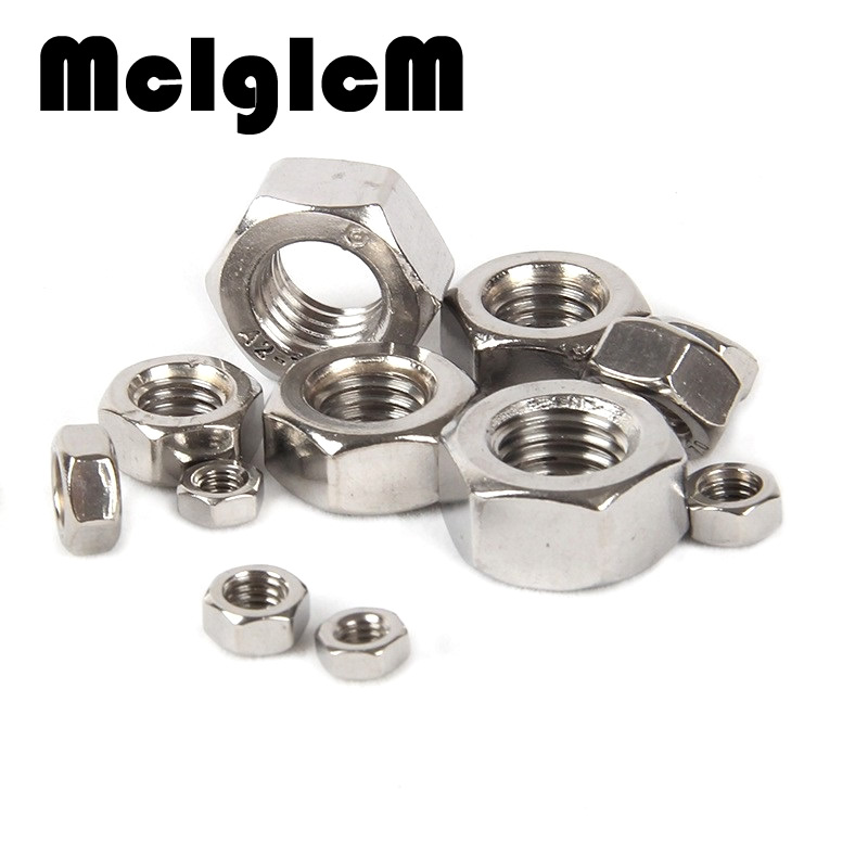 H051 100Pcs DIN934 M1.6 M2 M2.5 M3 M4 Carbon Steel Hex Nut Hexagon Nuts Metric Thread Suit For Screws Bolts HW010 100pcs lot new m3 nut hex stainless steel screws thread nutsert hexagon nuts metric thread screw hy398 100