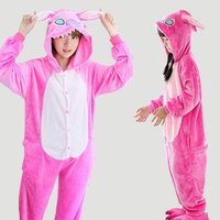 Unicorn Stitch Panda Flannel Hooded Family Pajamas Set Costume Cosplay Plug Size Pijama Animal Onesie For