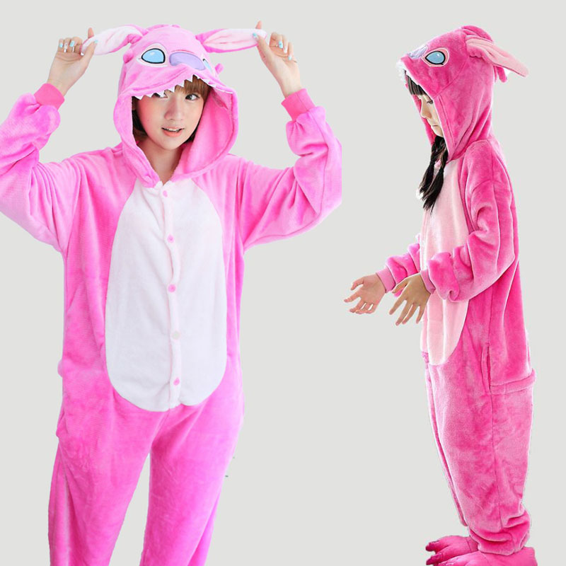Flannel Hooded Family Pajamas Set Animal Anime Pink Stitch Pijamas Rose Red Pyjama Onesie For Women Adults TC014