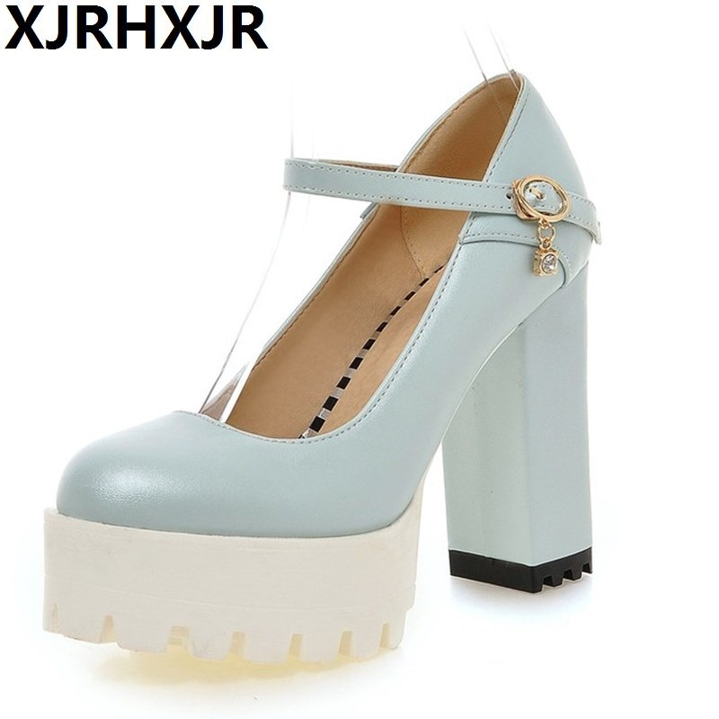 2017 Spring New Women Pumps Super High Heel Platform Round Toe Buckle Strap PU Leather Casual Mary Janes Shallow Mouth Shoes цена и фото