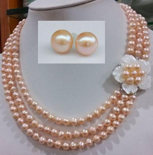 Perfect Pearl Jewelry Set 17-19inch 3 Rows 6-7mm Pink Freshwater Pearl Necklace Earrings Set Shell Flower Clasp
