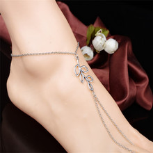 New simple leaf charm ankle bracelet women silver anklets on a leg Bracelets girl beach foot chain bangle jewelry a74
