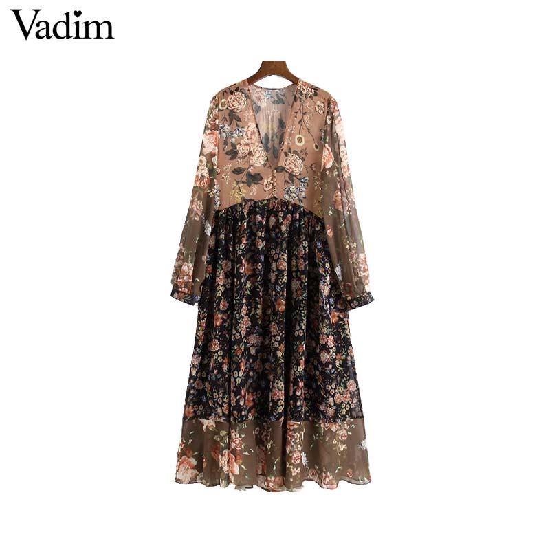 Vadim women V neck floral chiffon pleated dress see through long sleeve vintage female retro chic mid calf dress