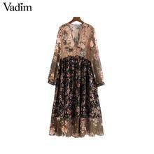 Vadim feminino v pescoço floral chiffon vestido plissado ver através de manga longa do vintage feminino retro chique meados de bezerro vestidos qa763