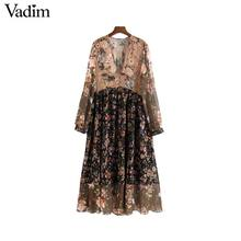 Vadim women V neck floral chiffon pleated dress see through long sleeve vintage female retro chic mid calf dress vestidos QA763