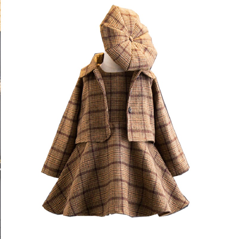 2018 New Fashion 3 Pieces Baby Girls Clothing Set Coat Ball Gown Dress Hat Autumn Winter Fashion Children Costume Plaid Clothing