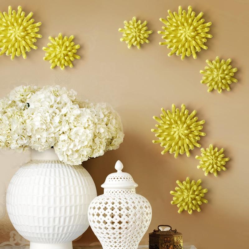 Ceramic Wall Flower Decor: Creative 3D Stereo Ceramic Flower Yellowe Chrysanthemum