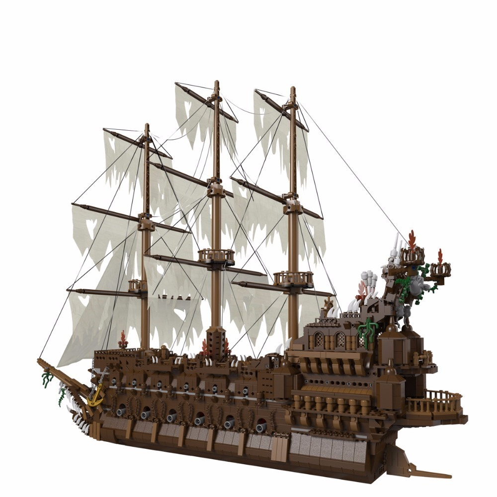 Lepin ship 16016 Movies Series legoing ships pirate Flying the Netherlands ship Pirates of the Caribbean moc Building Blocks 487pcs pirates of the caribbean king of the sea 311 pirate ship boat model building blocks kit children toy compatible with lego