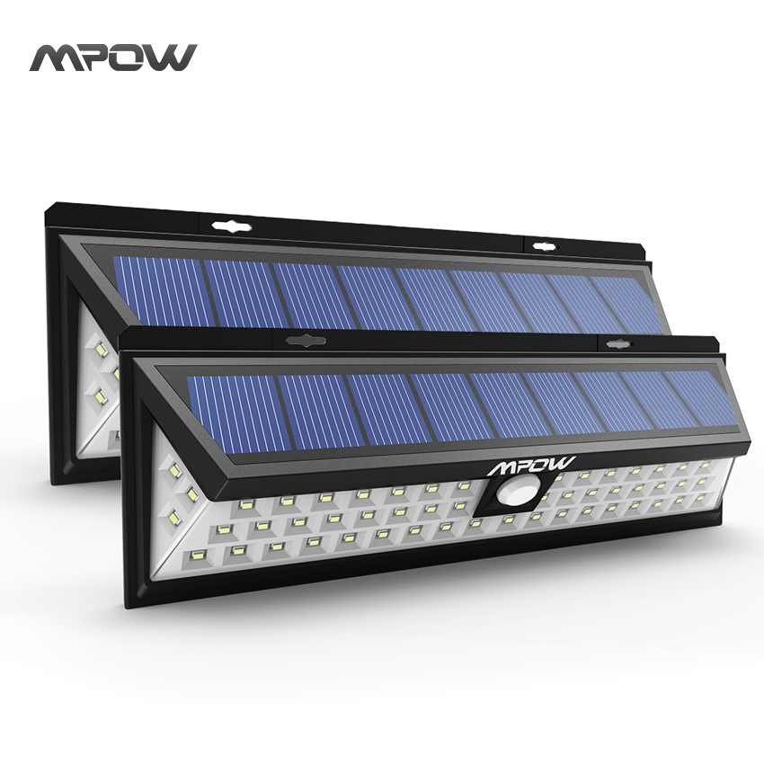 Mpow 54 LED Solar Lights Waterproof Energy Solar Lighting 120 Degree Wide Angle Motion Night Lamp Pathway Wall Lampion mpow 4pcs mini 10 led solar power lighting security waterproof outside wall panel lampion fence garden deck yard led night lamp