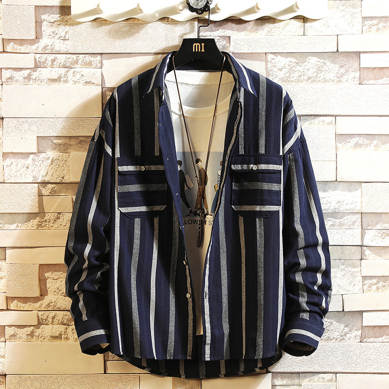 0123 Spring Mens Shirts Regular Fit Long Sleeve Loose Casual Vintage Vertical Striped Shirt For Men Streetwear Japanese Style in Casual Shirts from Men 39 s Clothing