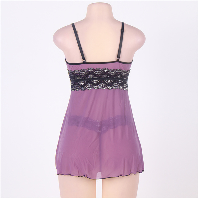 Sexy Dress Erotic Split Lingerie Plus Size M XL 3XL 5XL Purple High Waist Summer Sexy Babydoll Women Lingerie R79991 4