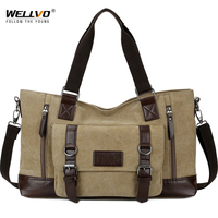 Wellvo Canvas Men Vintage Travel Bag Carry on Leather Duffel HandBags Large Travel Luggage Tote Weekend Crossbody Bag XA101WC