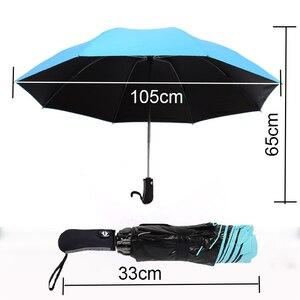Image 4 - 8 costela totalmente automático guarda chuva masculino e feminino à prova de vento 3 dobrável ensolarado e chuva carro anti chuva reverso guarda chuvas