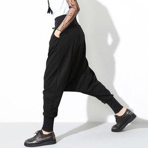 Image 4 - [EAM] 2020 Spring New Fashion Black Solid Drawstring Pockets Causal Loose Big Size Women High Waist Harem Pants RA224