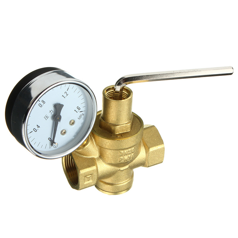 free shipping 1 brass dn25 water pressure regulator with gauge pressure maintaining valve water. Black Bedroom Furniture Sets. Home Design Ideas