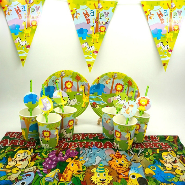 For 12Kids Jungle Safari Animals Theme Birthday Party Supplie Tableware Set Plate Straw Glass Candybox Invitation Ect