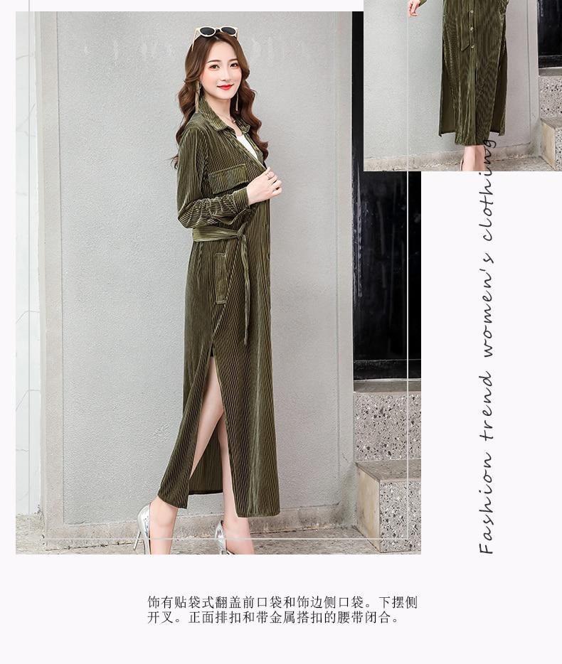 Nerazzurri long velvet dress women long sleeve with belt button striped shirt dress 2020 spring plus size double slit maxi dress