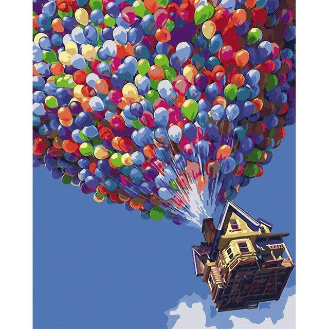 Heißer Luft Ballon Bild Auf Wand Acryl Farbe Durch Zahlen Diy ...