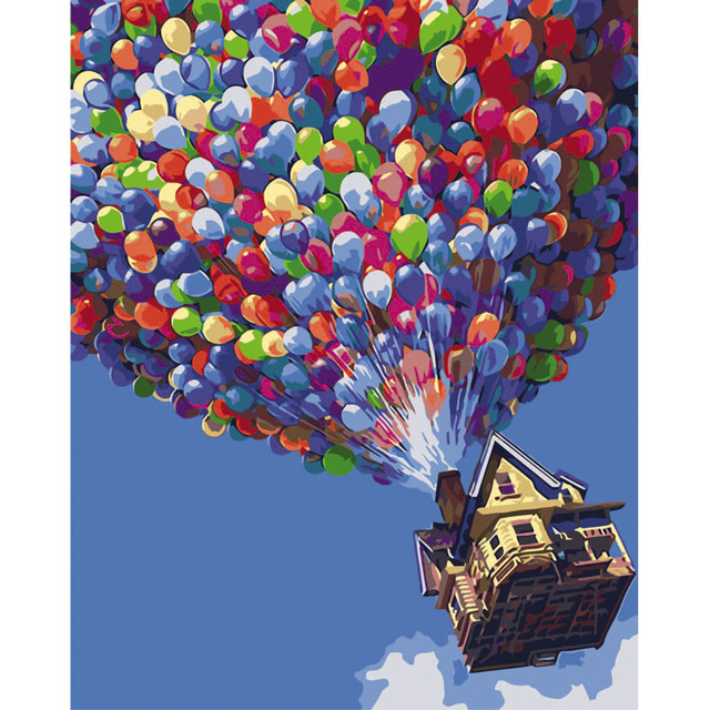 Hot Air Balloon Picture On Wall Acrylic Paint By Numbers Diy ...