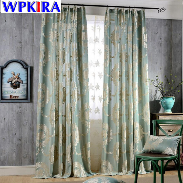 Europe Jacquard Semi Blackout Velvet Curtains Living Room Blinds Panel  Fabrics For Window Navy Blue