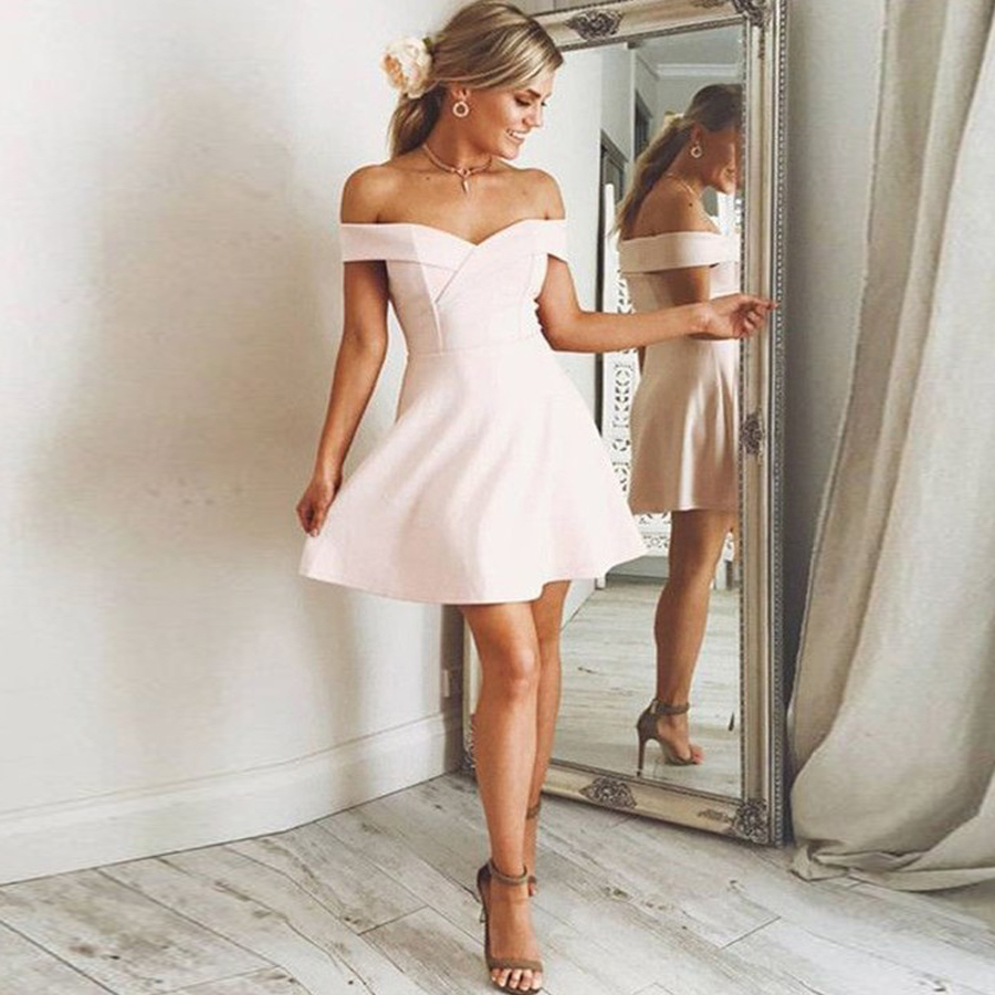 Short Homecoming Dresses For Girls A-Line Princess Sleeveless Off Shoulder Ruffles Short Juniors Graduation vestidos de graduaci