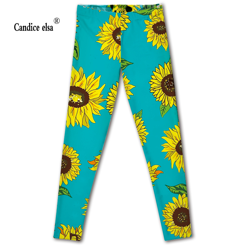 CANDICE ELSA women leggings elastic fitness legging sunflower print leggins workout female pants drop shipping plus size