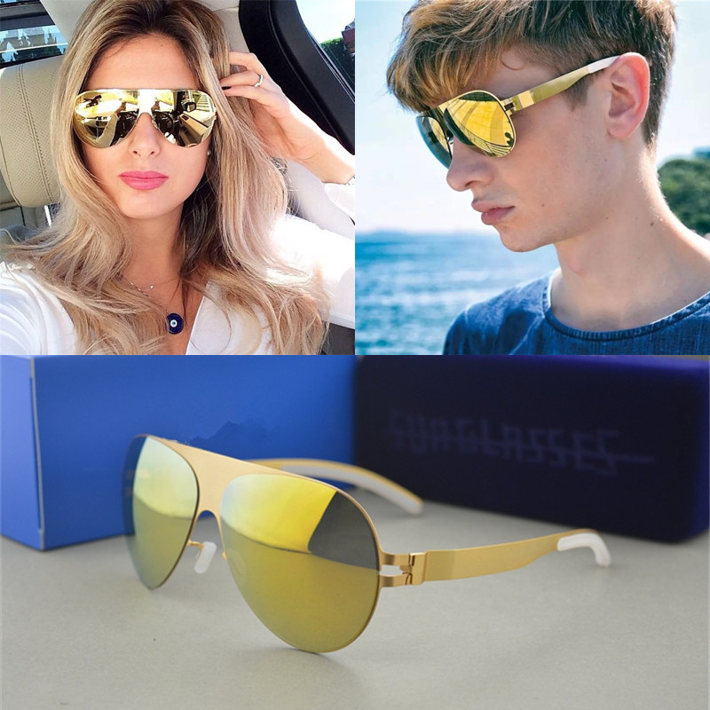 Luxury Sunglasses Brand Designer Franz Celebrity Hand Made Mirror Sunglasses Men&Women Gold Flash Pilot Aviator Sun Glasses 2016 new fashion sunglasses women brand designer sun glasses vintage eyewear