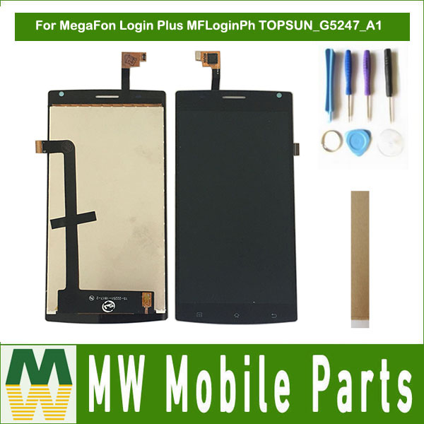 For MegaFon Login Plus MFLoginPh TOPSUN G5247 A1 LCD Display+Touch Screen Digitizer Assembly Black ith Tools&Tape