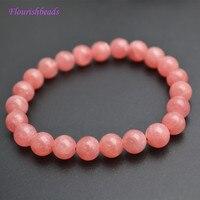 High Quality 8mm Natural Rhodochrosite Stone Round Beads Elastic Line Stretch Bracelets Fashion Jewerly