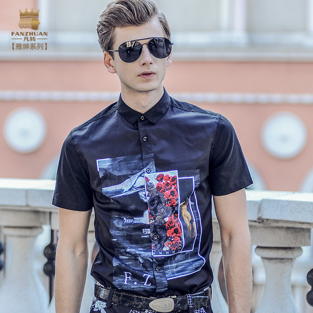 652a92d85f6 Fanzhuan Free shipping New Summer Men s male 2017 casual fashion printed short  sleeved shirt 713023 blouse