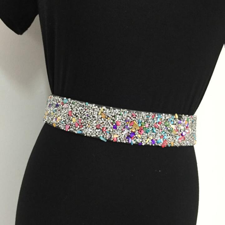 Women's Runway Fashion Diamonds Elastic Cummerbunds Female Dress Corsets Waistband Belts Decoration Wide Belt R1541