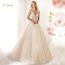 Loverxu V-Neck Wedding Dress Sleeve Bride Dress Court Train