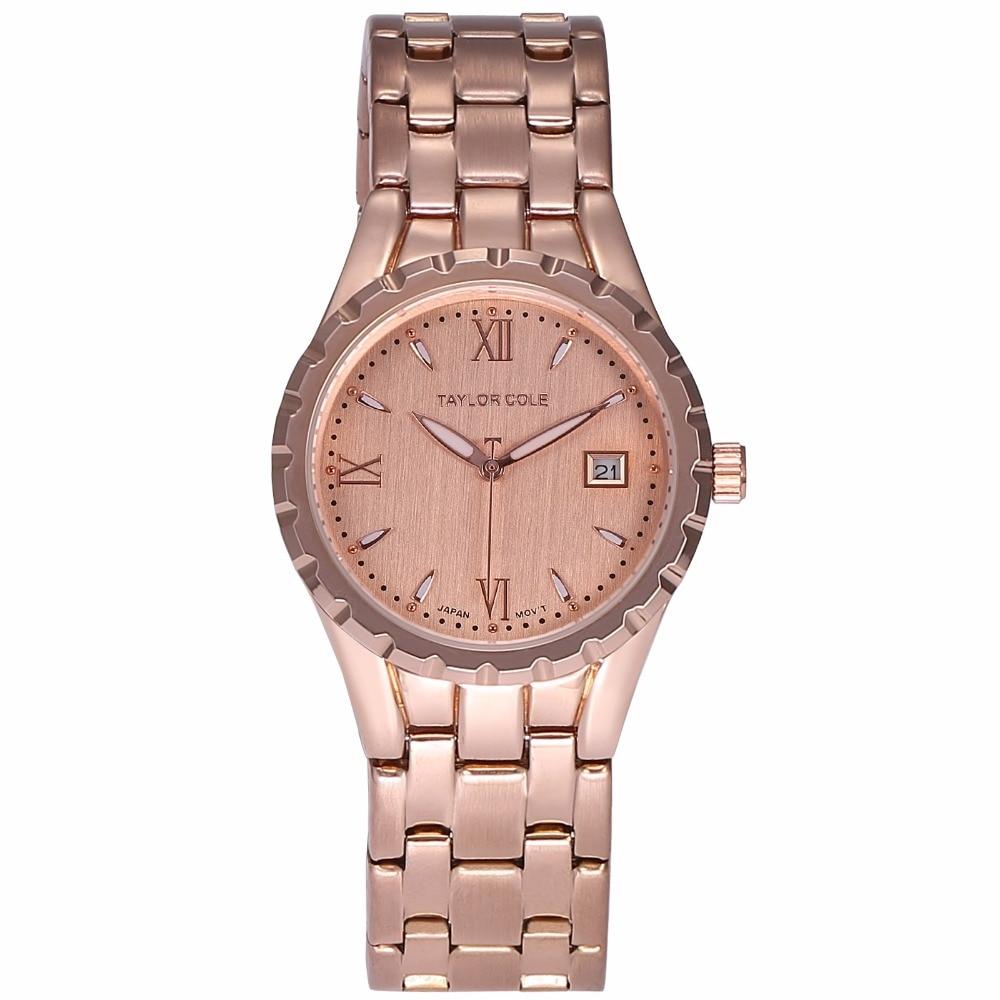 Taylor Cole Luxury Aglaia Rose Gold Relogio Feminino Auto Date Steel Strap Clock Bracelet Quartz Dames Horloge Watch Gift /TC028 цена 2017