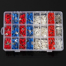 цена на 1000Pcs Insulated Crimp Terminals 24Types Kit Electrical Cable Wire   Uninsulated Connectors Spade Fork Ring Assorted Set