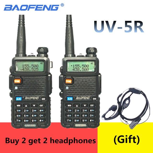 2PCS BaoFeng UV 5R Walkie Talkie 5w CB Ham Radio hf fm Transceiver 128CH VHF&UHF Handheld Radio Station For Hunting 10km UV 5R