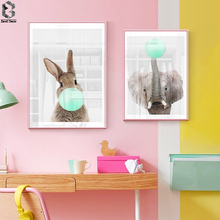 Kawaii Elephant Rabbit Canvas Art Posters Woodland Animal Cartoon Nursery Prints Painting Wall Picture Baby Room Decoration