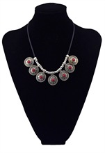 цена на Bohemian Vintage Silver Plated Charm Red Blue Acrylic Bead Round Pendant Leather Chunky Statement Necklace For Women