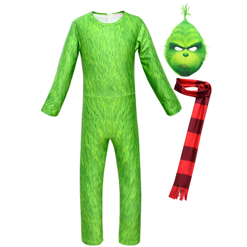 Green Grinch Carnival Funny Show Game Costume Set Halloween Costume Party Girl Boy Grinch Child Gift Set