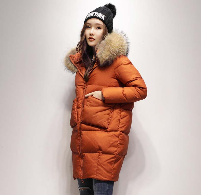 new 2018 women's duck   down     coat   loose long jacket with large real raccoon fur hood warm parkas for lady female black red xxl