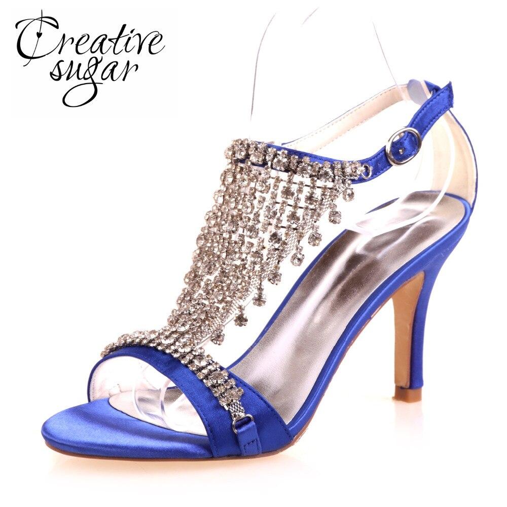Creativesugar sexy Lady forma de T Correa Sandalias de tacón alto  rhinestone Fringe verano satén vestido zapatos de boda tacones chispa c9b3639089aa