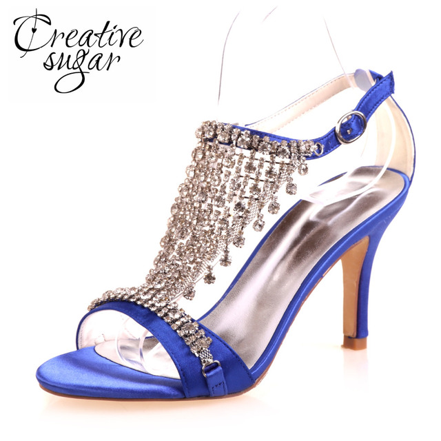 Creativesugar Sexy lady T shape strap high heel sandals rhinestone fringe summer  satin dress shoes wedding party sparkle heels 04cd2ed6bfb3
