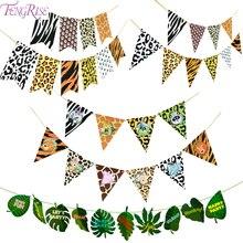 FENGRISE Jungle Birthday Banner Amimal Garland Paper Flag Palm Leaf Babyshower Safari Animal Pennant